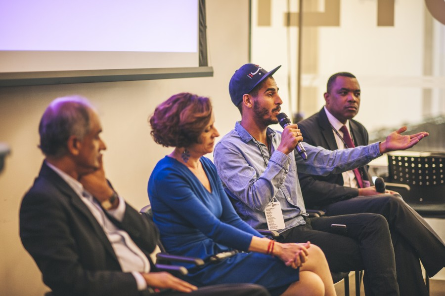 The Importance of Language breakout session. Pictured: Pico Iyer, Denise Dresser, Ahmed Shihab-Eldin, and John Yearwood